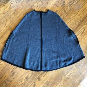 Forever 21 Knit Poncho with Leather Trim